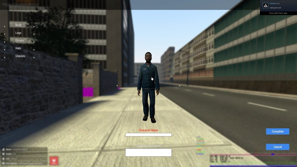 Character creation in CityRP Alpha Garry's Mod roleplay